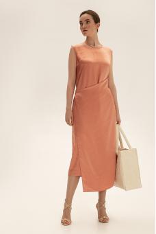 Платье миди с вышивкой, коралловый