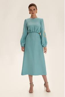Платье миди с вырезами, бирюзовый