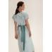 Платье миди с контрастным декором, голубой