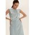 Платье миди с вышивкой, голубой