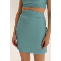 Короткая юбка из льна, бирюзовый
