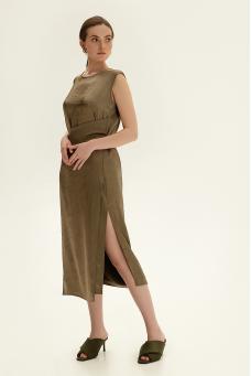 Платье миди с вышивкой, оливковый