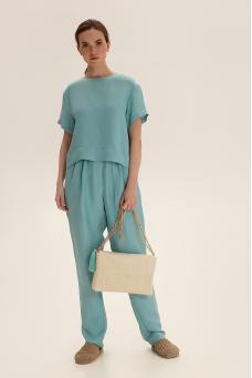 Зауженные брюки из льна, бирюзовый