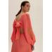 Платье миди с вырезами, коралловый